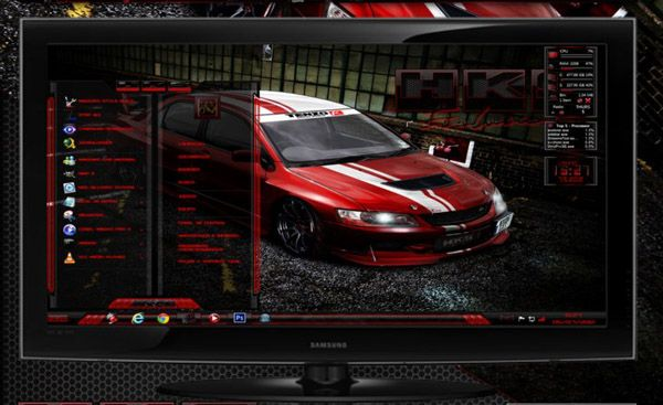 HKS Evo Red for windows 7 themes - free Windows 7 Visual Styles, Windowblinds, Miscellaneous themes download
