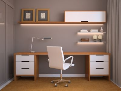 Very simple two-tone, asymmetrical desk/shelf configuration. A few drawers for storage, and a very large desktop. You could add two shelves above (instead of one) for more display space.