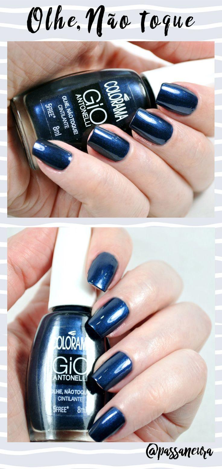 Esmalte Olhe, Não Toque da coleção Gio III da Colorama. Esmalte azul marinho, de acabamento metálico - cintilante e efeito brilhante nas unhas.