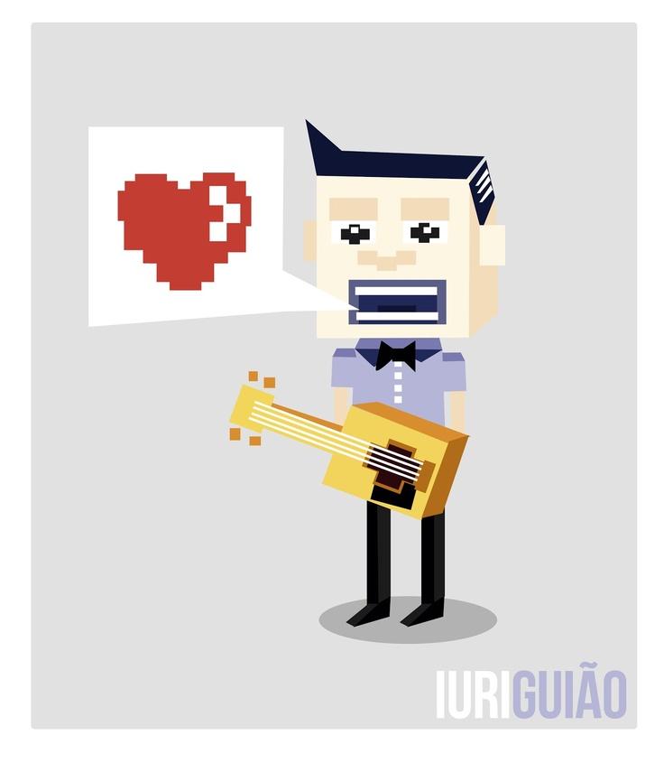 Ilustração que tem como inspiração: Games antigos, música country e amores quadrados.