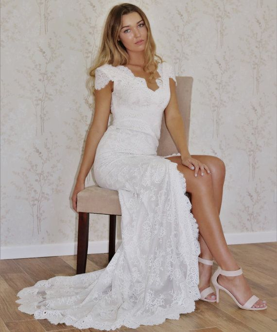 Boho wedding dress/ Lace wedding dress/ Cap Sleeve wedding dress/ V- Back wedding gown/ Sweep train Bridal Gown/Perfect beach wedding gown.