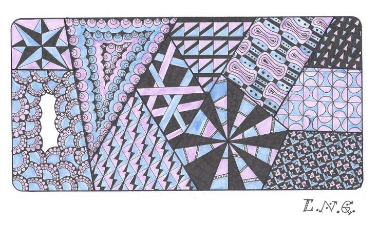 L.N.G. Original Zentangle #9 (colour)