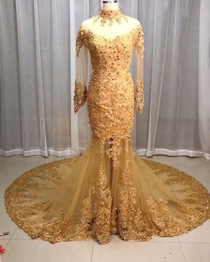 Luxus Brautkleider Spitze Gold | Hochzeitskleider Mit ...