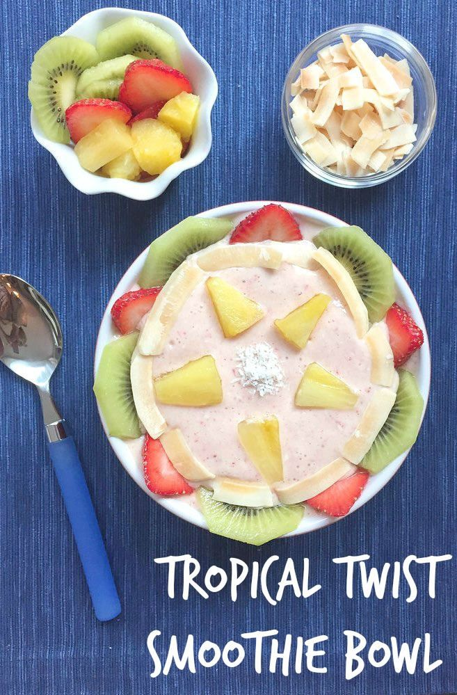 Tropical Twist Smoothie Bowl via Mealmakeovermoms.com/kitchen | Brighten up wither with this healthy breakfast bowl! #milk #smoothiebowl #glutenfree Love @MealMakeoverMom