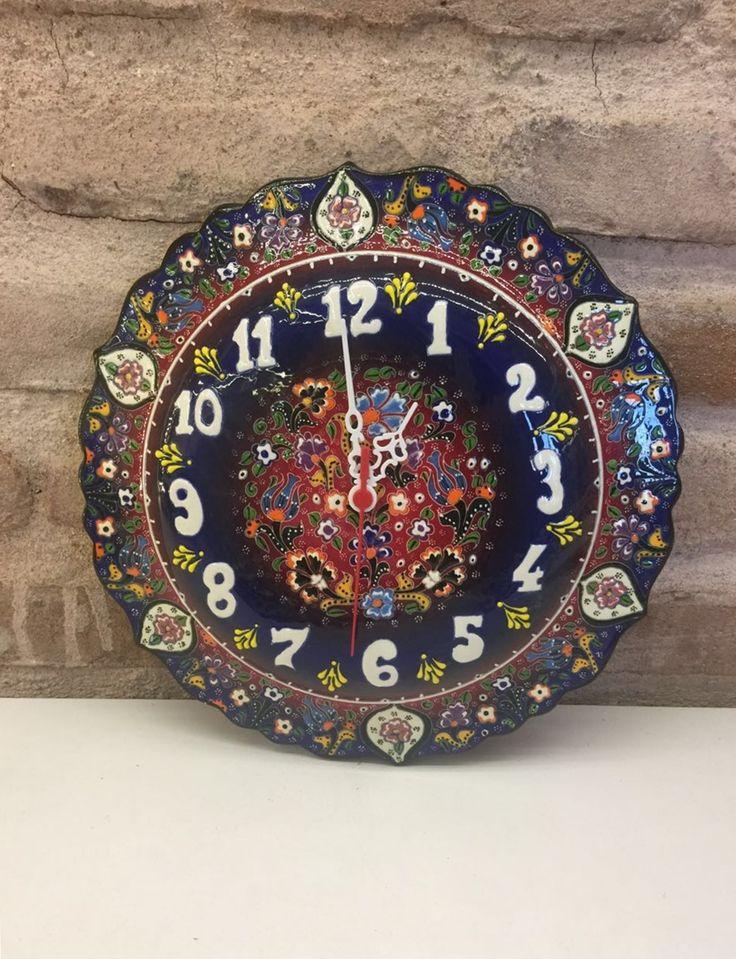 TURKISH CERAMIC WALL CLOCK, BLUE