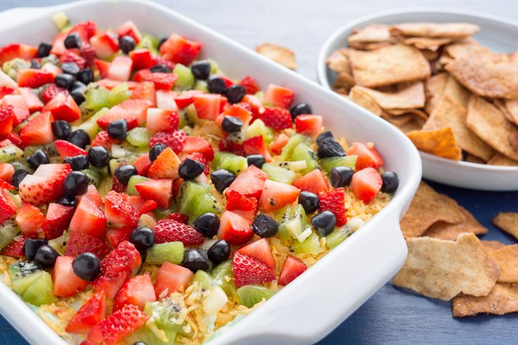 If your sweet tooth is calling, this is a fun dessert to share with friends. Kids will also love this sweet take on 7-layer taco dip.