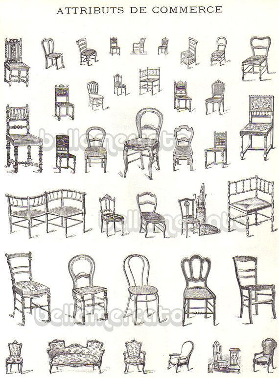 Drawings of different types of chairs