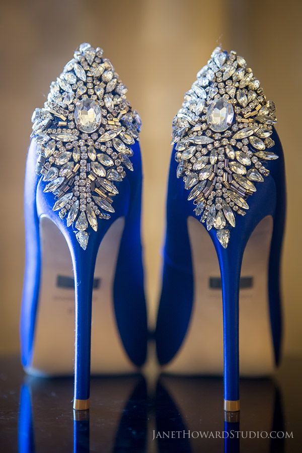 Crystal and royal blue wedding shoes. YES.
