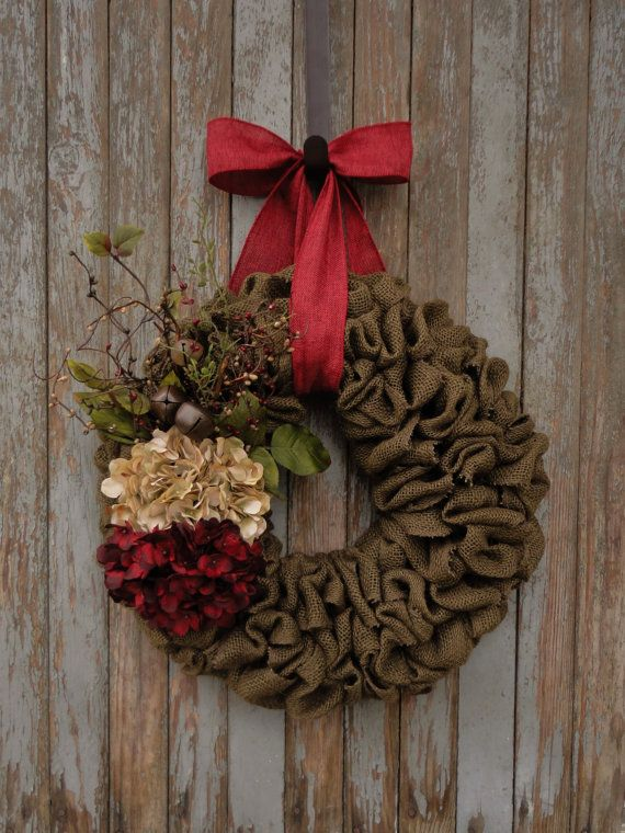 Brown Burlap Beige and Red Hydrangea by WhimsyChicDesigns on Etsy