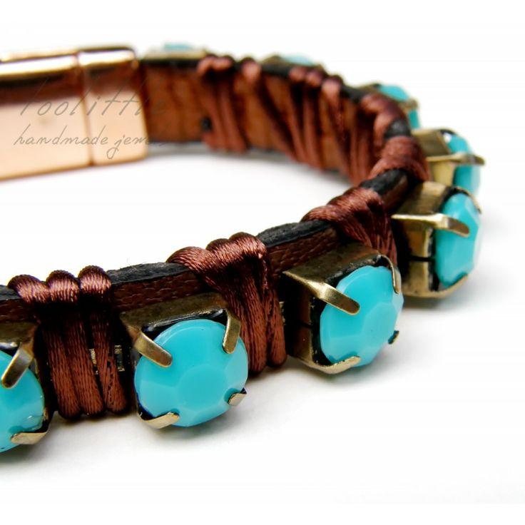 Dark Brown Leather & Aqua Beads Bracelet #leather bracelet