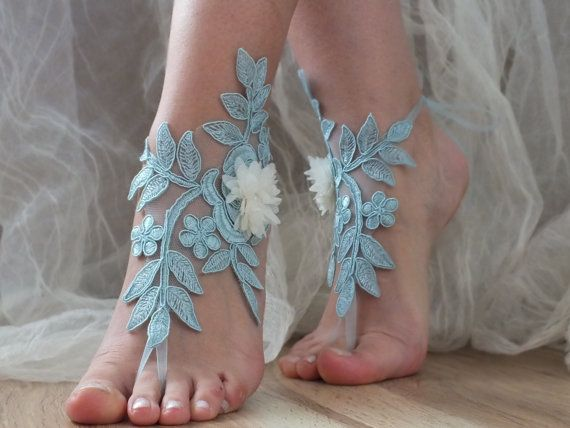 Free Ship blue ivory floral barefoot sandals by ByMiracleBridal