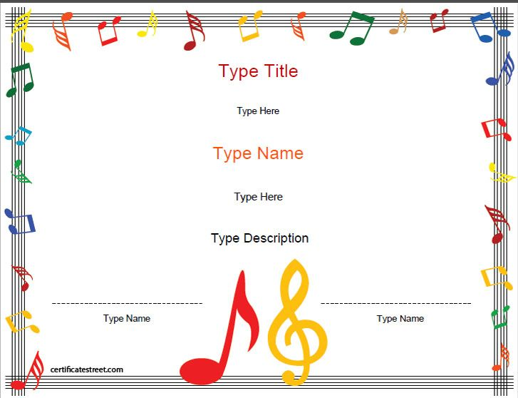 Blank Certificate Music Award Template Certificatestreet Teaching Lessons Certificates