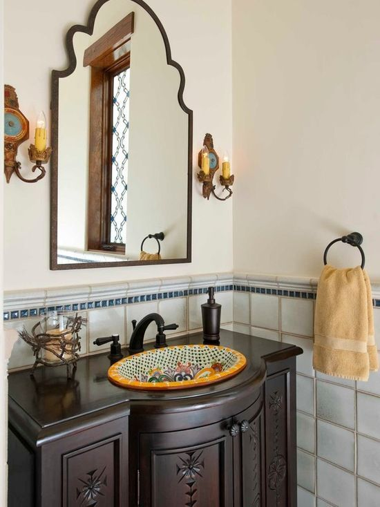 Superb Classically Spanish Bathroom With Hand Painted Mexican Style Sink In Our  Unique, Hacienda Chic Style  Inspired By Latin And Spanish Cultures.