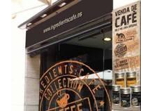 Disseny d'etiquetes per ingredients:cafè by Lidia Torrents Pont, via Behance