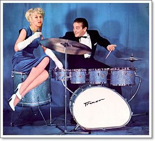 Gene Krupa on a Trixon Drum Set