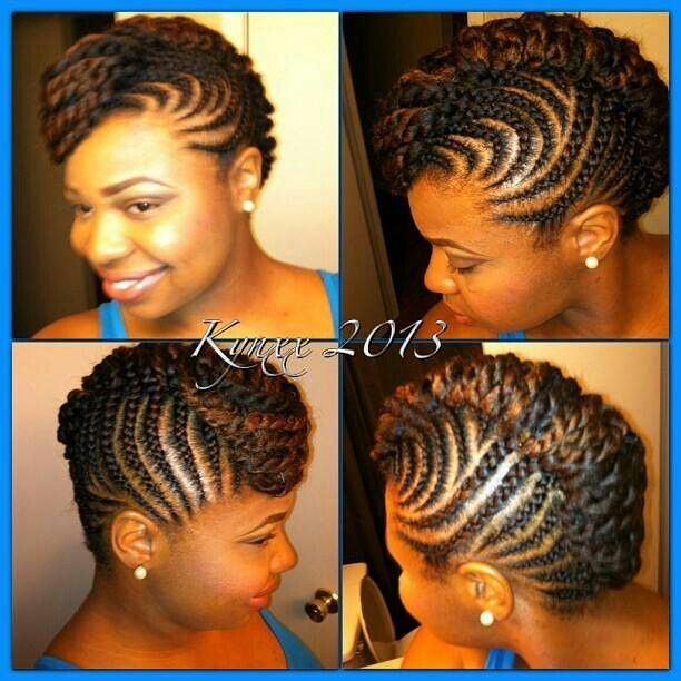 Braided Updo Twist Hairstyle Protective Hairstyle Corn Roll