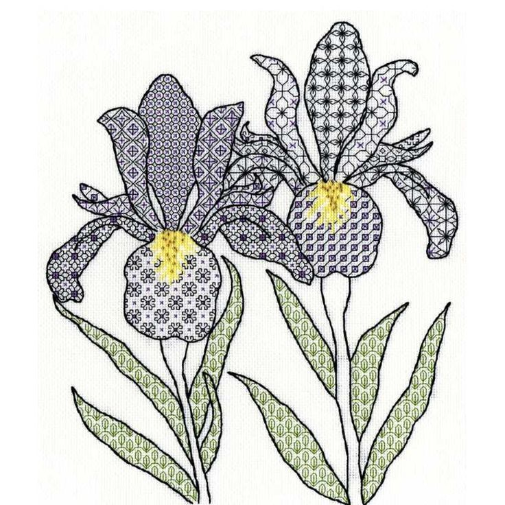 Irises Blackwork Kit By Bothy Threads is one of a range of designs by Eleanor Friston using stranded cotton and metallic thread..