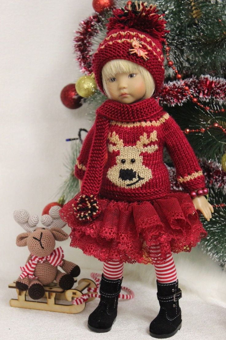 """Clothing for dolls 13 """"Little Darling Diana Effner. Includes sweater, cap, scarf, tights, skirt, fur Pancho, bracelet, sleds and handmade toys. 