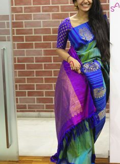 Elegant blue and green silk saree.. Beautiful for any occasion!!