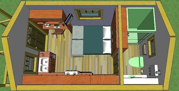 quixote village community tiny house plans 002 200 Sq. Ft. Quixote Cottage Tiny Cabin Design