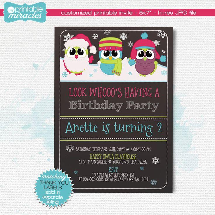 New to MyPrintableMiracles on Etsy: Owl birthday invite Girls owls party Printable owl invitation Girl winter birthday theme winter chalkboard invites (12.00 USD)