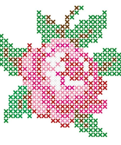 Rose cross stitch sticker pattern from Lidewijs.