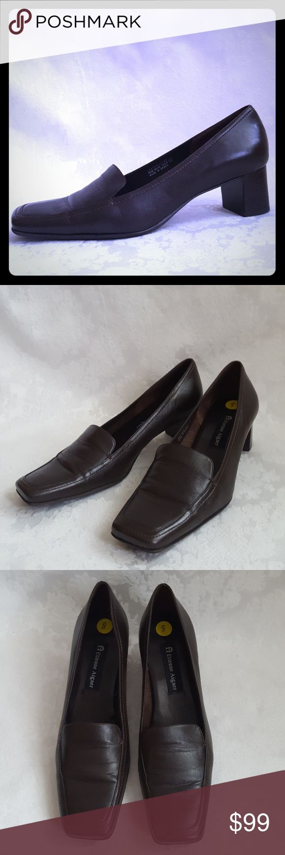 "Etienne Aigner Brown Leather Heels Etienne Aigner rich dark brown leather loafer style heels with 2"" stacked wood heel. Style is ""MIDLAND"". Made in Brazil. See pic 7 for color.  Excellent used condition. Smoke free and pet free home.   Check out my other listings - 100's of 👠shoes👠, 👢boots👢 and 👜bags👜. Bundle 2 or more and save money!💲💰💲 Etienne Aigner Shoes Heels"