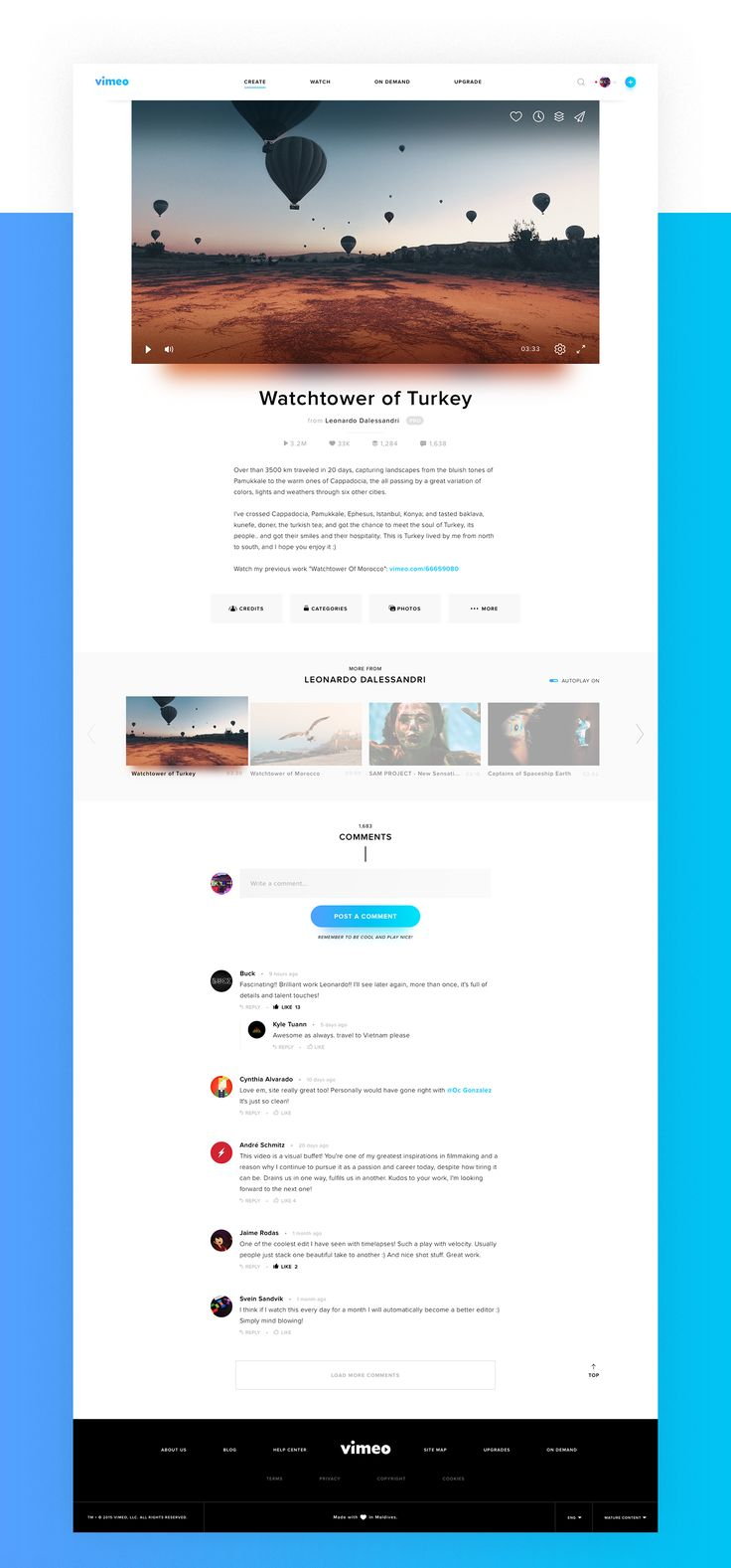 Vimeo Concept - Web Design - Redesign, UI, Video, Clean, Modern, Hover Buttons, Glow, Glows, Light Shadows, Blue, Black