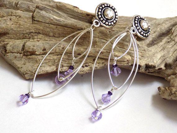 Clip on Chandelier Earrings, Purple Earrings, Silver Dangle Earrings, Crystal Earrings for Women, Handcrafted Jewelry, Perfect Gift for Her #handmade #jewelry
