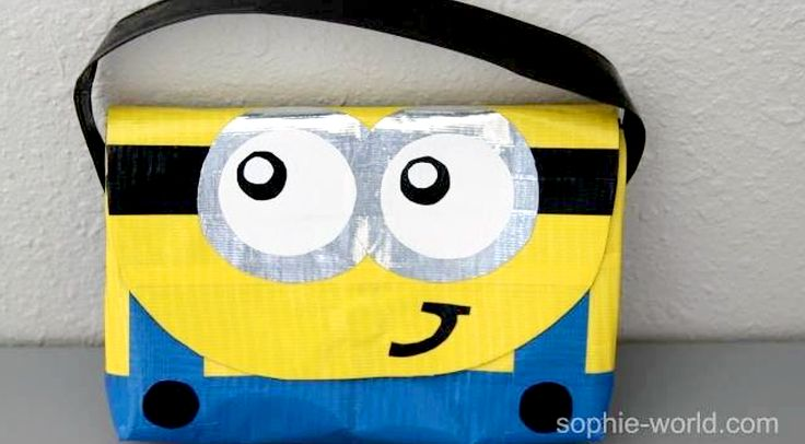 How to make a no sew duct tape Minion  bag / purse | Sophie's world