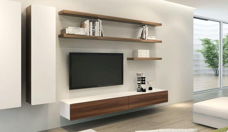 Ikon White + Walnut Floating TV Unit - Medium - Delux Deco