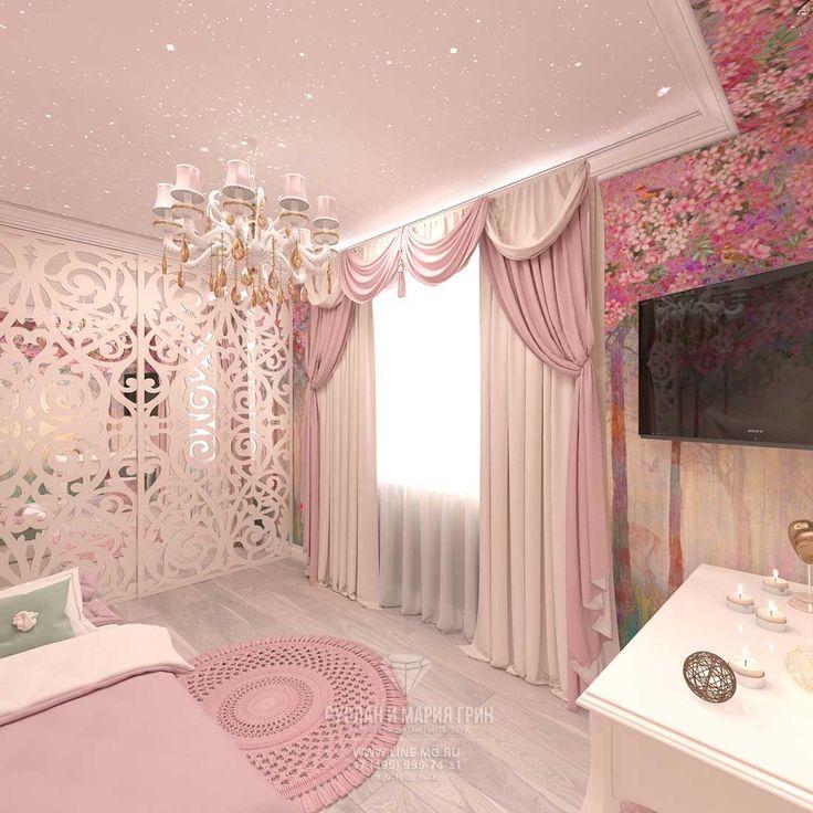 Дизайн уютной детской комнаты для девочки http://www.line-mg.ru/dizayn-kvartiry-zhk-dolina-setun