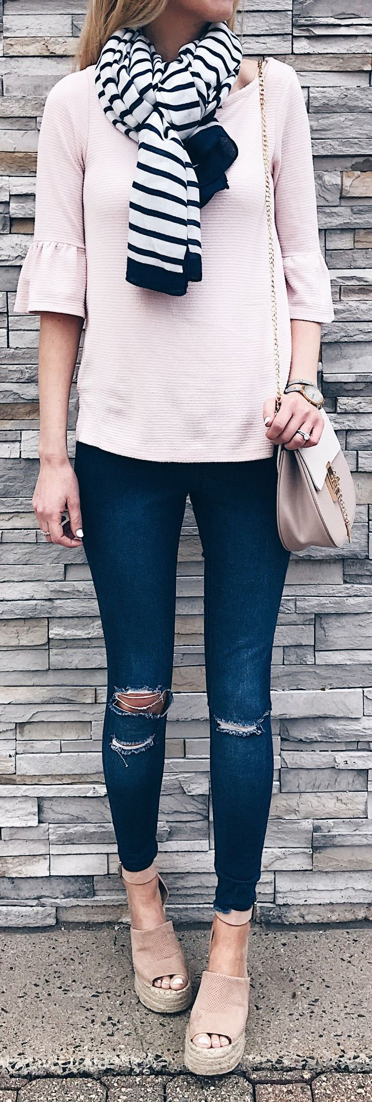 #spring #outfits  Do You Wear Makeup To The Gym? I Won't Leave The House Without Undereye Concealer 😳 But My Goal Is Look Alive, Not Made Up. Curious Is Others Are The Same. This Blush Bell Sleeved Top And Blush Wedges Were Just Restocked! My Jeggings Are Only $36. They Run Long But They're Raw Hem So You Could ✂️ Them To Your Preferred Length.