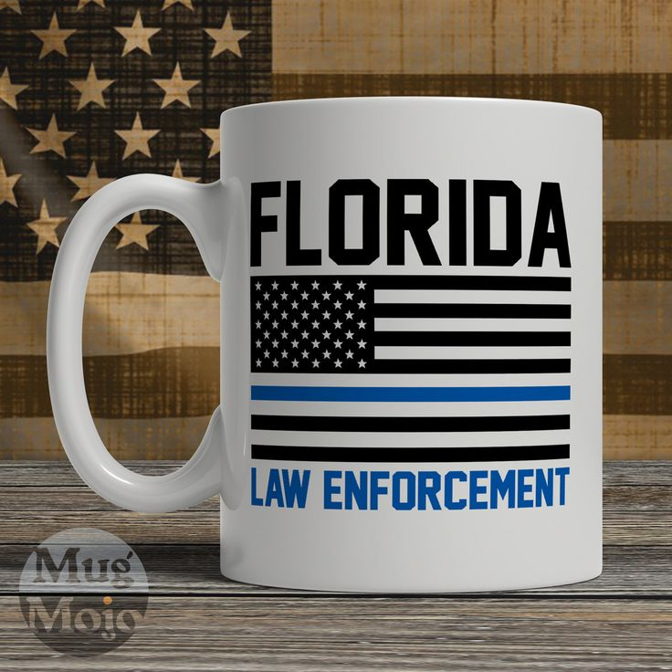 Florida Police Officer Mug - Thin Blue Line American Flag - USA Florida Law Enforcement - Custom Ceramic Coffee Mug by MugMojo on Etsy