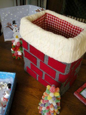 Felted and felt chimney - would be cute to keep the cards and letters in as they come in the mail.