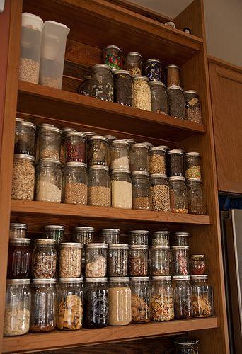 Pantry item organization... love using mason jars