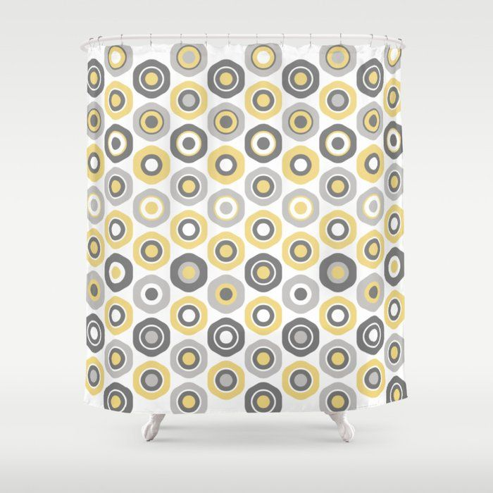 Buttons Cute Geometric Pattern In Mustard Yellow Grey And White