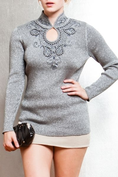 *** New Style ***jeweled detail, front hook, metallic sweater. 60% Cotton, 40% Metallic, Made in China