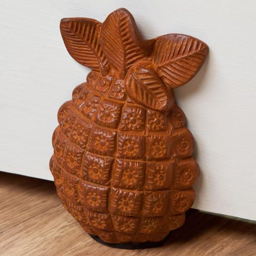 Cast Iron Pineapple Wedge Doorstop - Rust