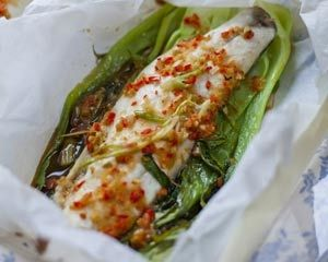 Serve Donal Skehans Asian sea bass parcels with soy, ginger and garlic ...