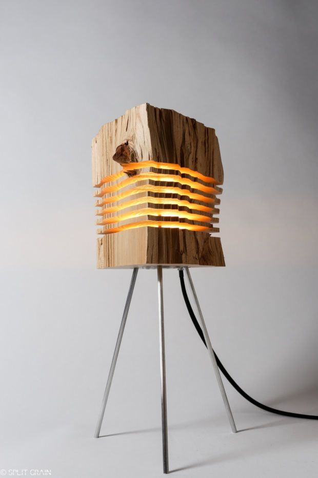 These beautifully minimal lamps are created by sliced firewood