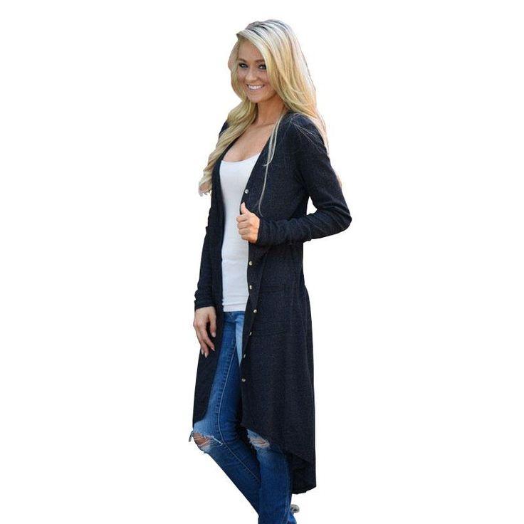 Women's Long Button Cardigan