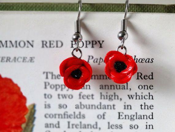 By the Shed Red Poppy Drop Dangle Earrings  Flowers  Garden