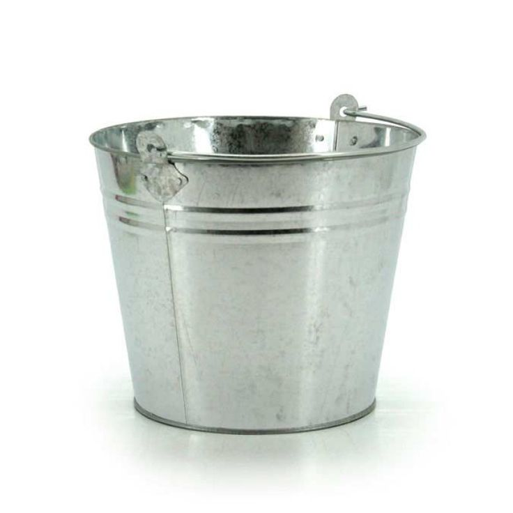 Natural Tin Bucket - Silver 30WTx22WBx25H (04-SPEC-5-NAT)   Oceans Floral -Tinware is very versatile, whether you want troughs for hampers or corporate gifts, or buckets and tall tins for flowers; our v-shape tins with ear handles are great for displaying flowers plus our plastic pots and vases pop inside nicely for a water tight option. Our smaller tins work great for gifts, posies, wedding favours, children's parties and baby showers.