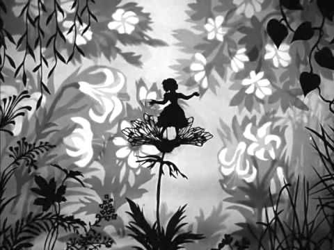 (4 extracts from Lotte Reiniger animations: Die Jag'd nacht dem Gluck, The Magic Horse, Thumbelina, and The Ant and the Grasshopper; set to music by Christine Ott in 2014.)  Bande-annonce 4 extraits ciné-concert lotte reiniger.  Création de ciné concert ; musique composée par Christine Ott, arrangée par Anne-Irène Kempf et Katia Jacob.  - YouTube