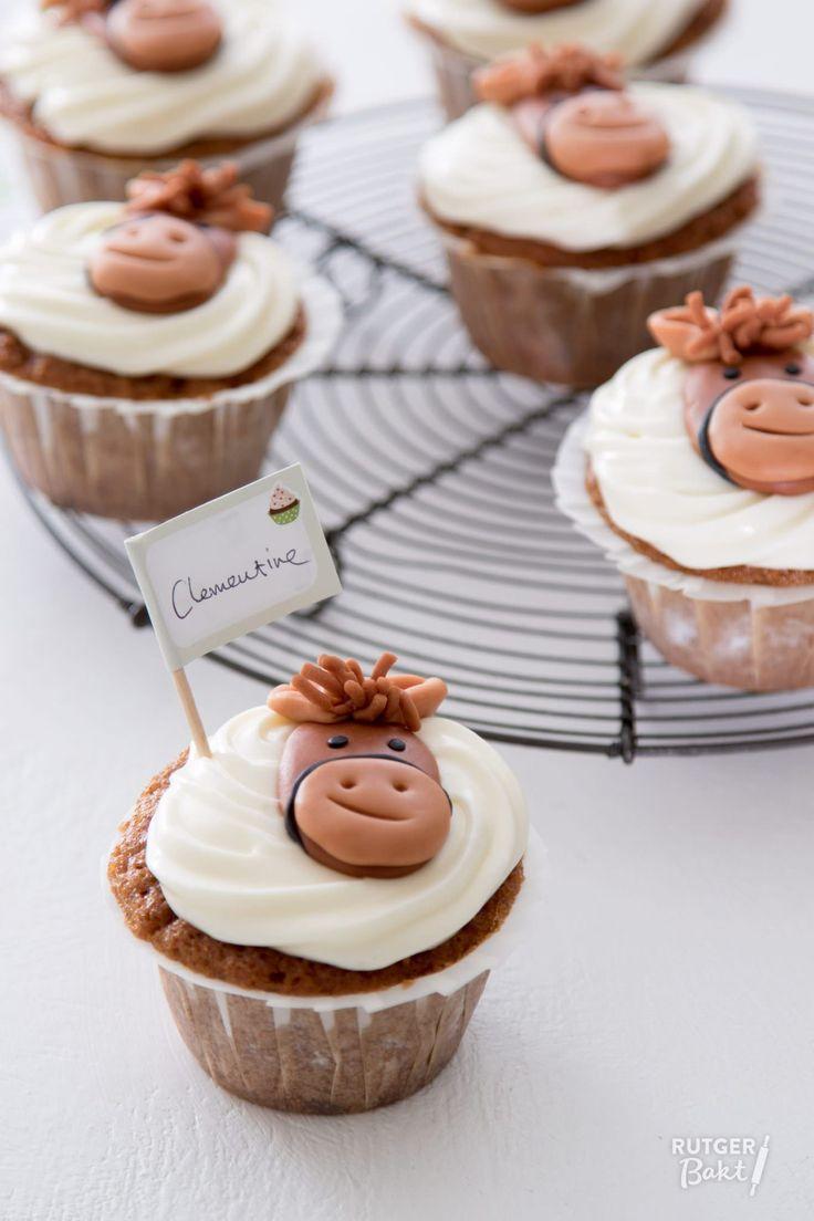 Bij haar droom dacht ik gelijk aan een carrot cupcakes, zowel voor de ruiter als voor het paard lekker! Vandaar de wortels, rozijnen en noten in het recept