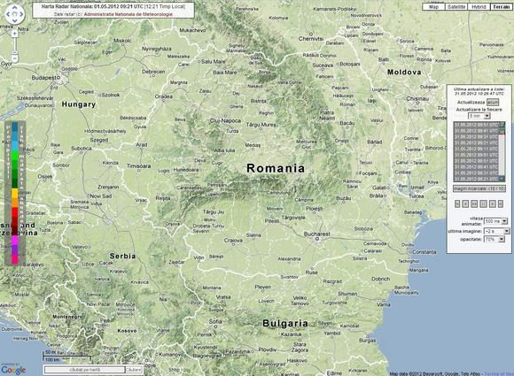 Harta Radar Meteo România – Administraţia Naţională De Meteorologie