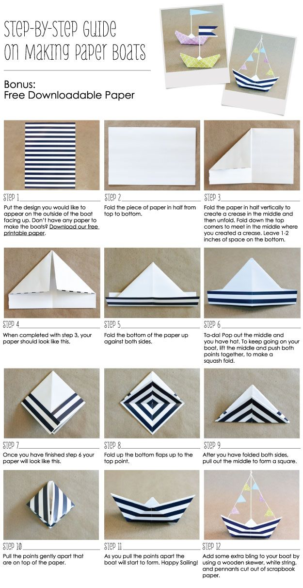 How To Make A Paper Boat & Anchor Nautical Party Ideas // Free Printable Nautical Paper // BigDotOfHappiness.com #paperboats #nauticalparty #anchors: