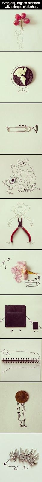 Popular Pinterest: Everyday objects blended with simple sketches