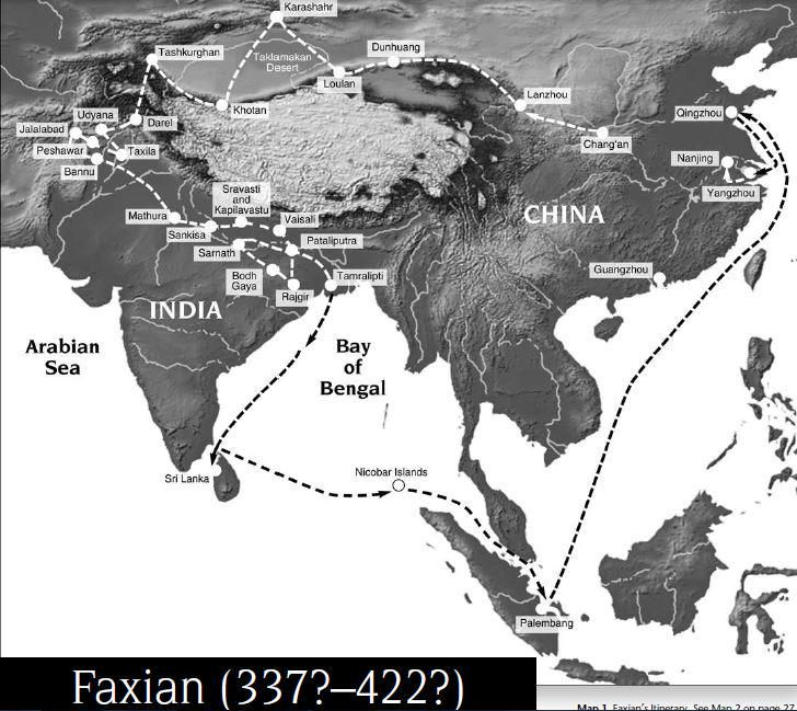 Map of Faxian's journey http://afe.easia.columbia.edu/special/travel_records.pdf…